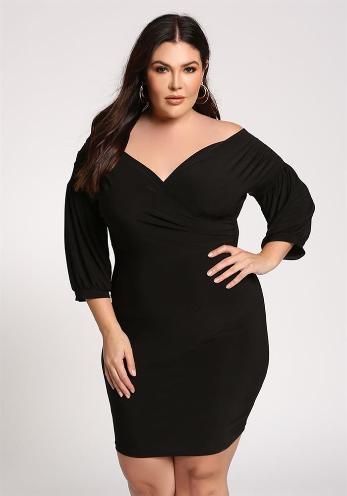Plus Size Clothing | Plus Size Puff Sleeve Off Shoulder Bodycon ...