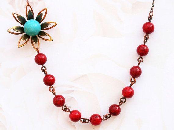 Red Jade Halskette FREE Ohrringe Türkis Halskette Vintage