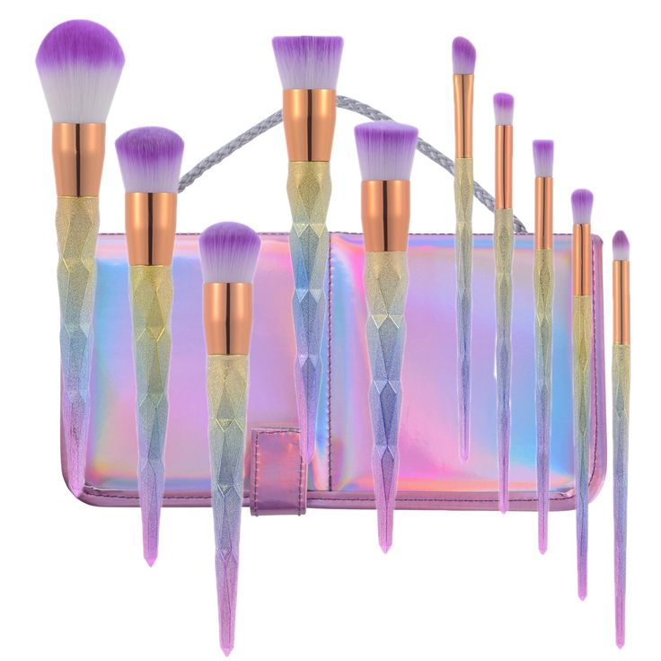 Lospu HY 10pcs Diamond Cosmetic Makeup Brushes Set Foundation Eye shadow Blusher Unicorn Blending Make up kwasten Brush with Travel Pouch. 100% Brand new and high quality. Full coverage with your powders or mineral makeup foundations,Use for applying mineral foundation, liquid foundation and also blush. Bristles give you flawless coverage of your foundation, blush, and finishing powder. Each brush is designed with long, easy-to-grip handle for precision during application suitable for all...