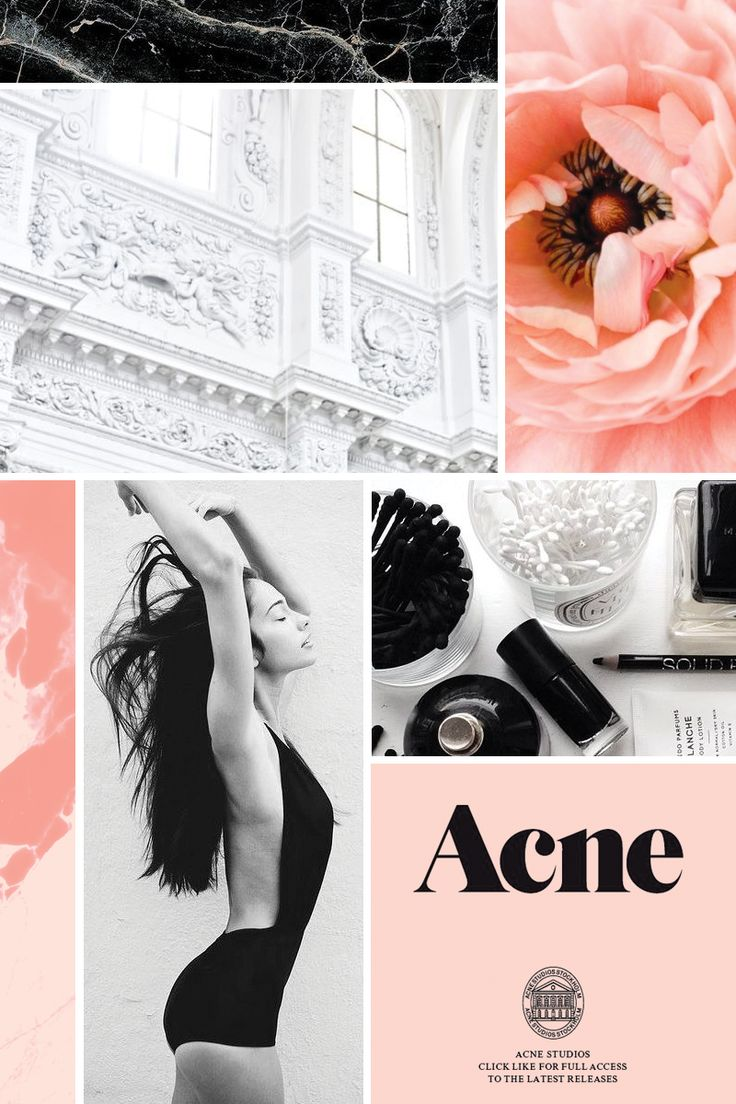 Pink, Black, and White Mood Board