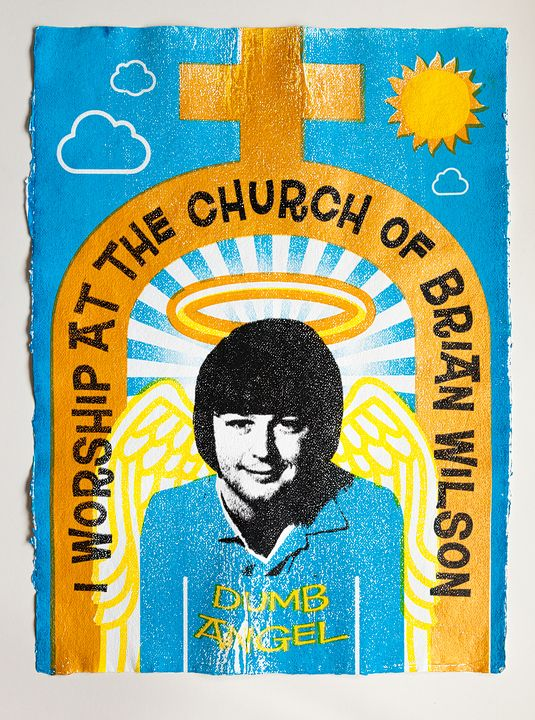 """A Symphony to God"" Brian Wilson. Silkscreen print edition of 10 + 1 AP. £350 + P  http://ngdagency.wordpress.com/2012/06/10/brian-wilson-of-the-beach-boys-i-worship-at-the-church-of-brian-wilson-silkscreen-print/"