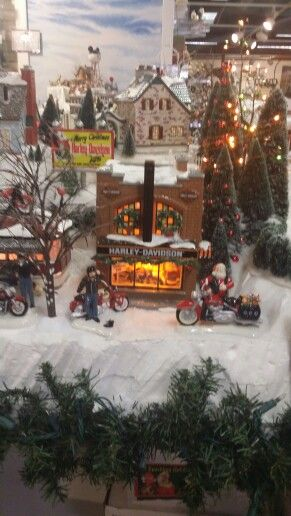 Harley Davidson shop for Santa's village.  Need this for Christmas 2014!!