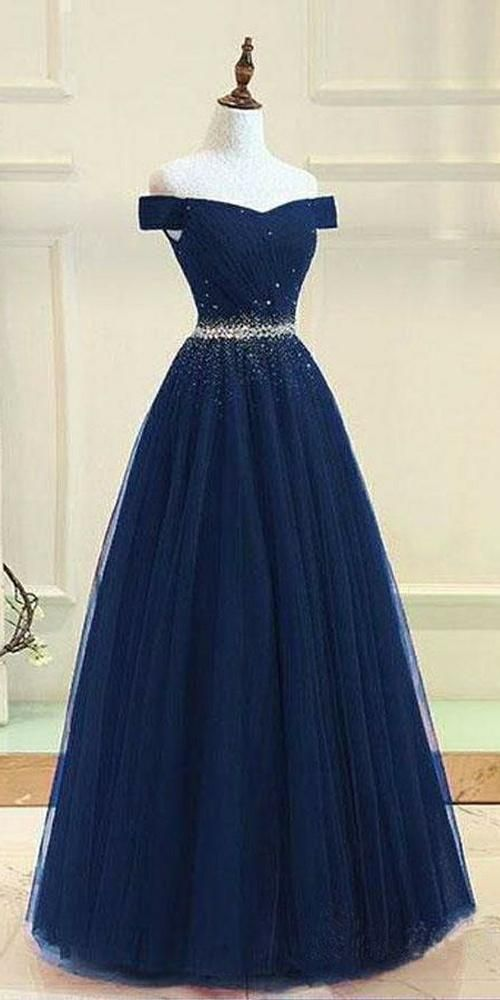 Beaded Navy Off Shoulder Prom Dress 2019 Custom Made Tulle Beadings School Dance Dresses Fahion Long A-Line Evening Party Dresses SPD090 3