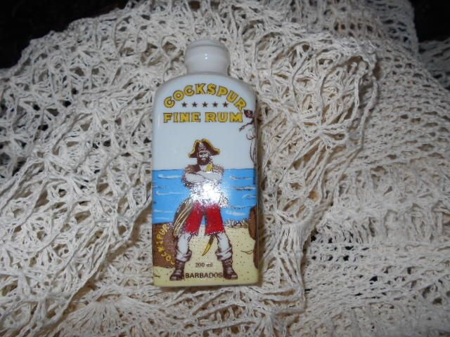 Rare Porcelain Cockspur Rum Bottle Pirate White Rum History SOLD