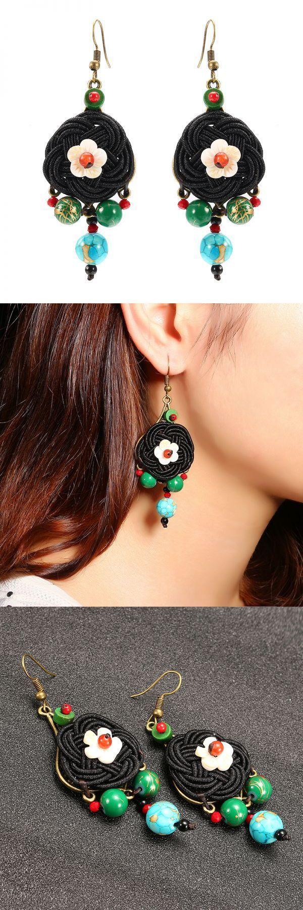 Ethnic vintage earrings retro agate ear drop tassel flower ball earrings for women earrings hoops small #00 #earrings #6mm #earrings #actual #size #d.i.y #earrings #earrings #60s