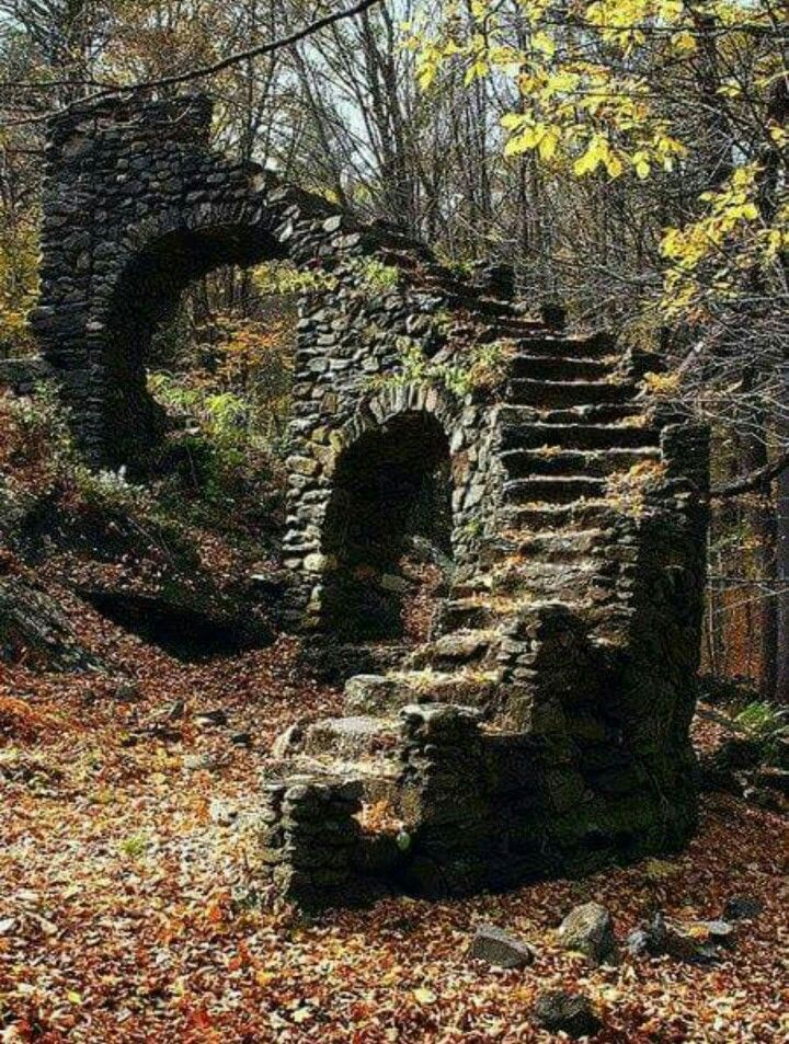 A creepy old staircase in the woods of New Hampshire.