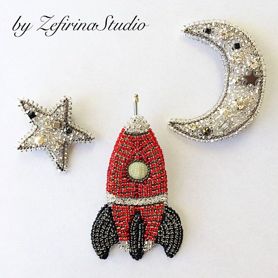 Crystal jewelry set of brooches Moon silver brooch Star