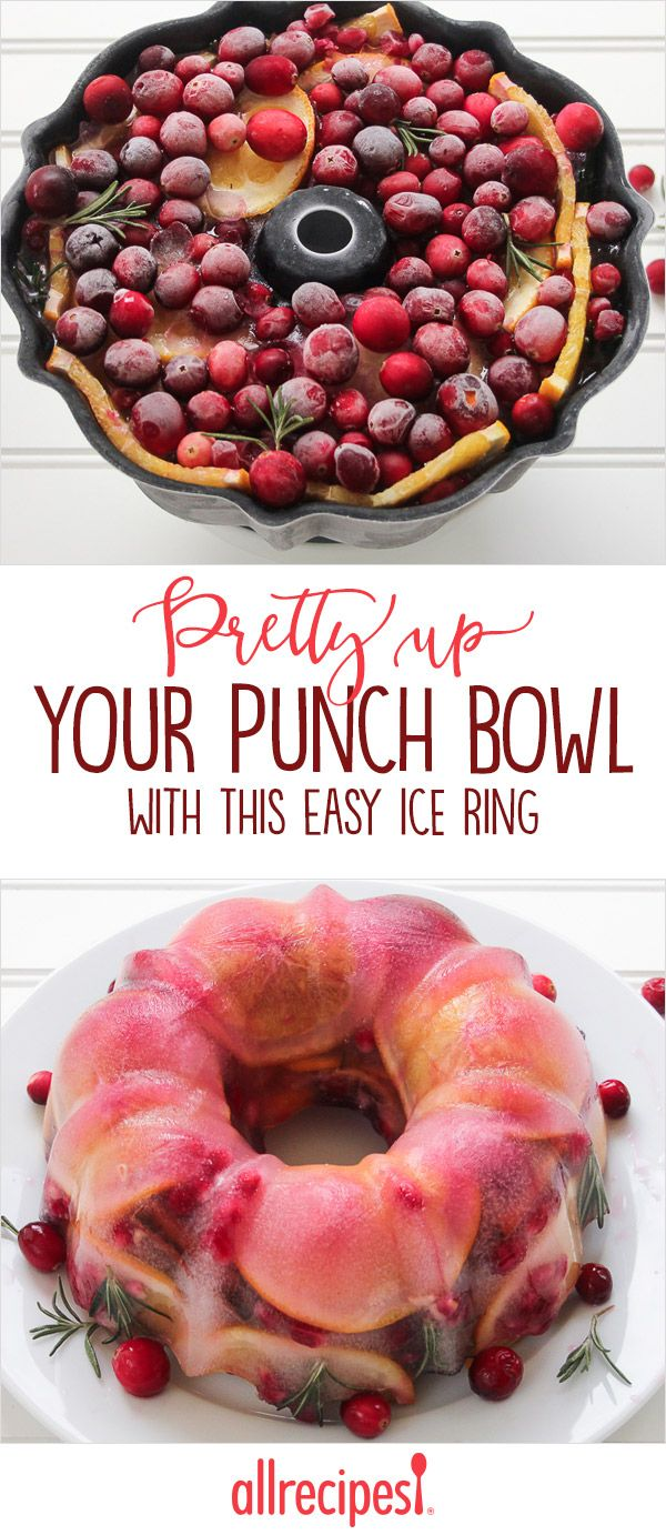 Pretty up Your Punch Bowl With This Easy Ice Ring | Sometimes the simplest ideas can make the greatest impressions. I recently made a Bundt tin ice-ring for a holiday punch bowl, and my guests were blown away by how beautiful it was. It's not just something pretty for the holidays though, it's also a practical and delicious way to keep your punch cold and adds some extra flavor too.