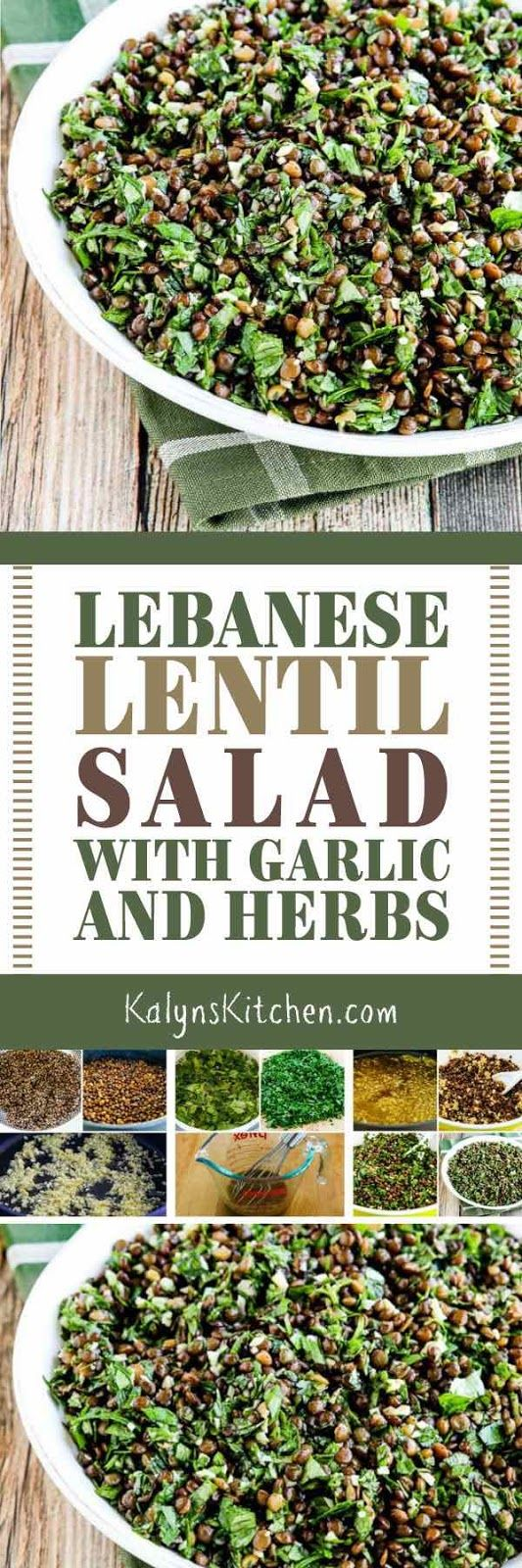 I love lentils which are low-glycemic and high in fiber even though they aren't super low in carbs, and this Lebanese Lentil Salad with Garlic and Herbs is a favorite recipe I've been making for years. The salad is also gluten-free, dairy-free, vegan, and South Beach Diet friendly. [found on KalynsKitchen.com] #LebaneseSalad #LentilSalad #LowGlycemic #Vegan #DairyFree #FreshHerbs