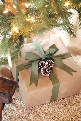ribbon and pinecones - I think I need to get me some brown craft paper! Use one color of ribbon for each family member....