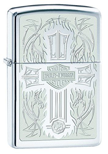 This Harley-Davidson High Polished Chrome lighter features an Auto engraved cross with the Harley-Davidson bar and Shield logo in the middle and the Willie g Skull at the bottom.More About The ProductGenuine Zippo windproof lighter with distinctive Zippo clickAll metal construction; windproof design works virtually anywhereRefillable for a lifetime of use; for optimum performance, we recommend genuine Zippo premium lighter Fluid, flints, and WicksMade in USA; lifetime guarantee that it works…
