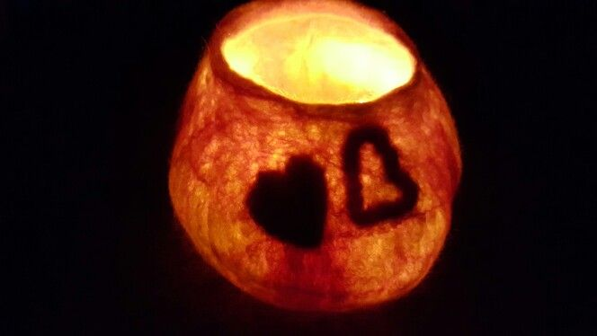 Wet felted Merino wool flameless candle holder with love www.facebook.com/feltupdesigns
