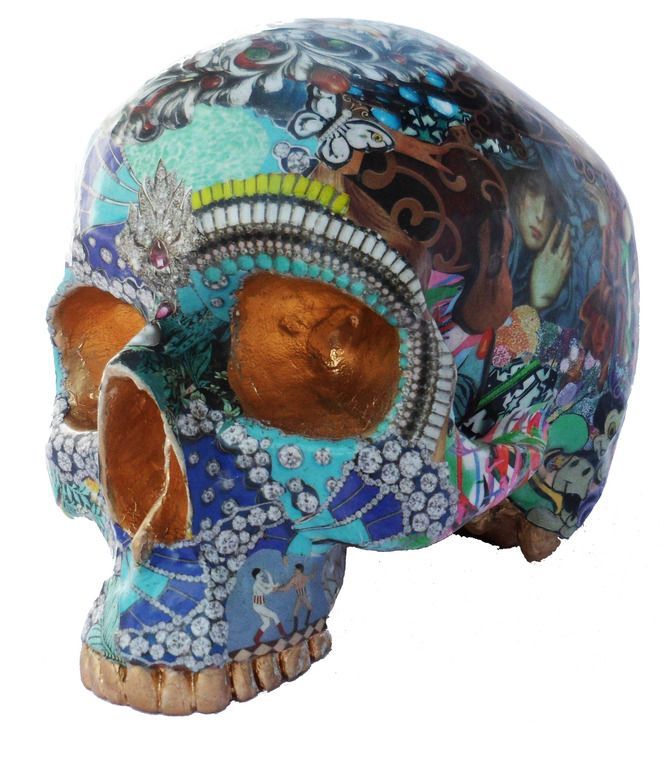 "Saatchi Online Artist: RAra Collective; Mixed Media, 2012, Sculpture ""Skull 4 by Miranda Woodard"""