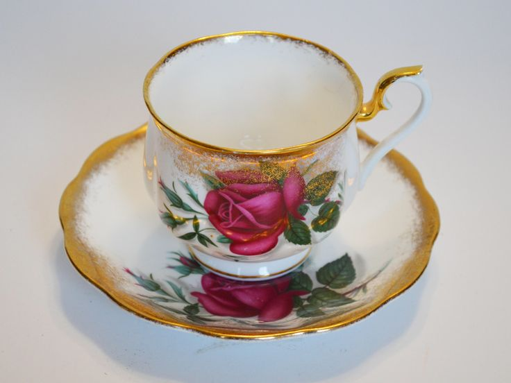 Signed Royal Albert Bone China teacup, large red cabbage rose, spray gold trim, made in England. by Trashtiques on Etsy https://www.etsy.com/ca/listing/548350058/signed-royal-albert-bone-china-teacup