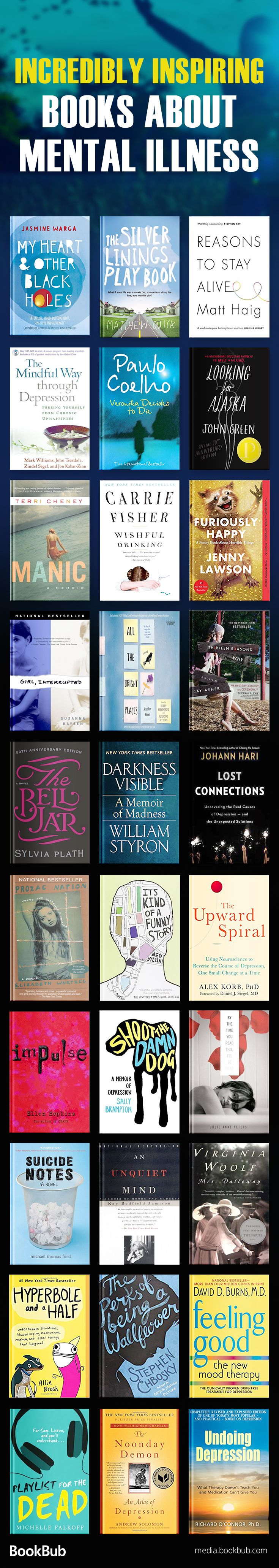 Inspiring books about mental illness, including books on depression, anxiety, and more. These are great books for women, men, and teens.