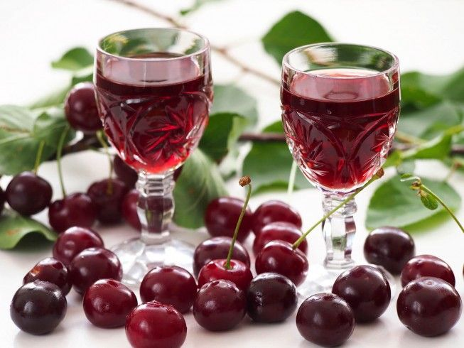 A recipe for Cherry Liqueur made with bing cherries, sugar. Recipe Directions: Pick plump, shiny, well-colored fruit with green stems, avoiding dark color