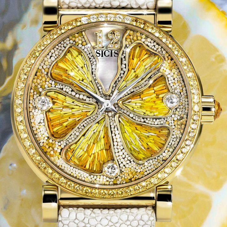 Vibrant, bold, juicy: our Caravaggio lemon watch in micromosaic, yellow sapphires, diamonds and mother of pearl is a real beauty, see more of our collection.