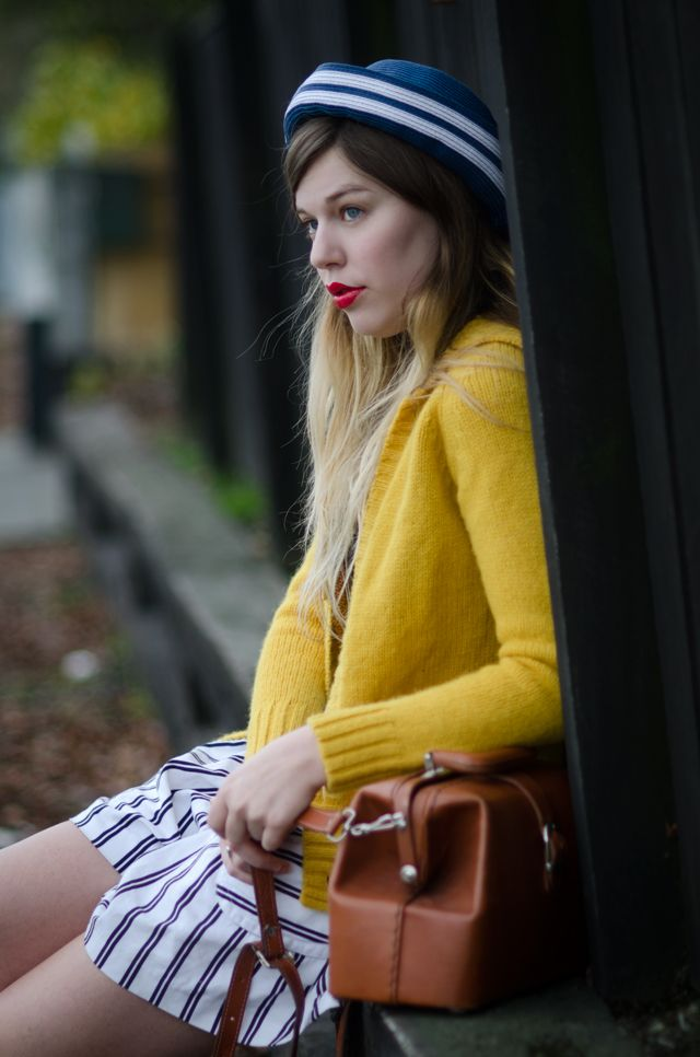 Jo of Lost in the HazeSan Francisco California, Navy Stripes, Clothing, Blue, Colors, Mellow Yellow, Fashion Blog, Fall Fashion, Bowls Hats