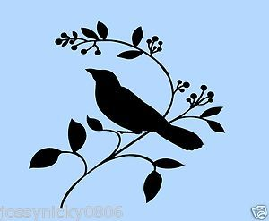 Bird Stencils | Bird Stencil Branch Branches Birds Leaf Flexible Stencils Template New ...