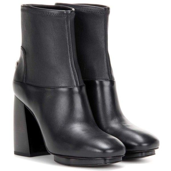 Tory Burch Sidney Leather Ankle Boots (485 CAD) ❤ liked on Polyvore featuring shoes, boots, ankle booties, black, short leather boots, black leather ankle booties, black leather bootie, short black boots and leather ankle booties