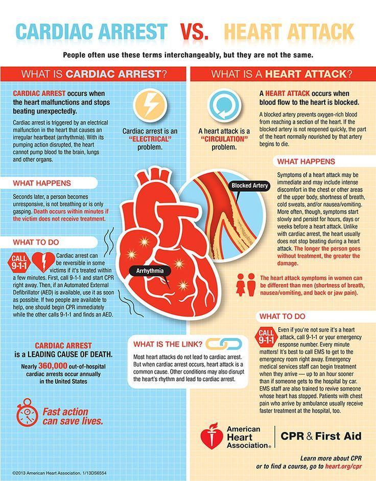 Cardiac Arrest vs Heart Attack (Infographic)