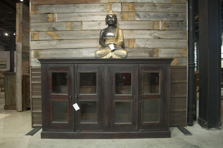 """This buffet is made from harvested plantation teak in North India with glass pan doors. This piece retails at $1295 and is 71""""x 17""""x 42 1/2""""  www.rusteak.com"""