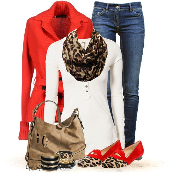 """Denim, Red and Leopard! (OUTFIT ONLY)"" by tufootballmom on Polyvore"