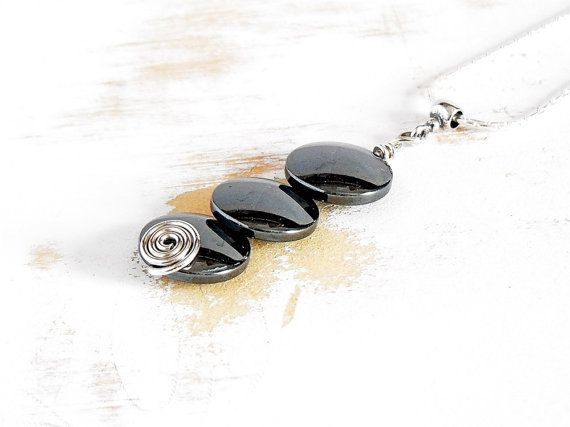 Hematite Pendant with Silver Spiral on Sterling Silver by bluetina