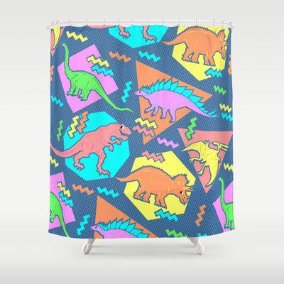 Nineties Dinosaur Pattern Shower Curtain by chobopop - $68.00