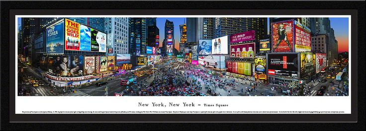 Times Square Panoramic Picture - New York, NY - Matted Frame $149.95