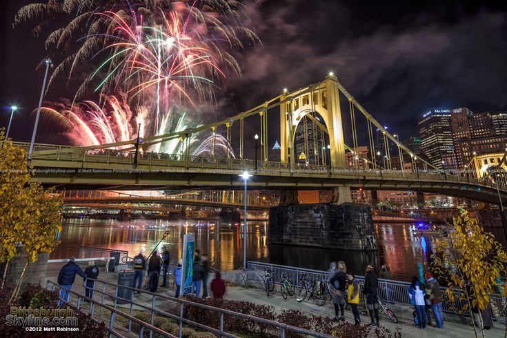 Roberto Clemente Bridge and Zambelli fireworks Light up night. The BEST firework show ever!!!!!!