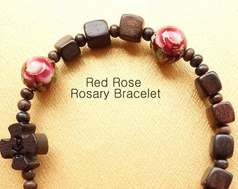 The stylish knotted wood rosary bracelet with by FloraYoonJewelry