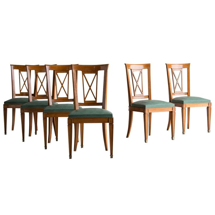 French Art Deco Set Six Cherry Chairs France Circa 1930