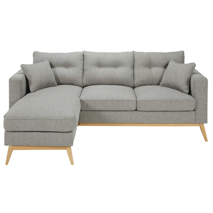 Canapé d'angle modulable scandinave 4/5 places en tissu gris clair | Maisons du Monde