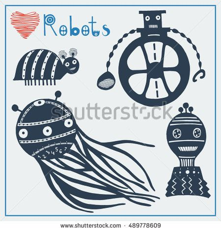 Векторные иллюстрации с высокой степенью детализации. EPS8. Чернила рисованной роботов.