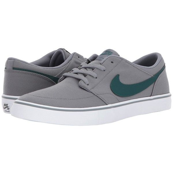 Nike SB Portmore II Solar Canvas (Cool Grey/Dark Atomic Teal/White)... (210 BRL) ❤ liked on Polyvore featuring men's fashion, men's shoes, men's sneakers, mens canvas shoes, mens breathable shoes, nike mens shoes, mens grey sneakers and mens low tops