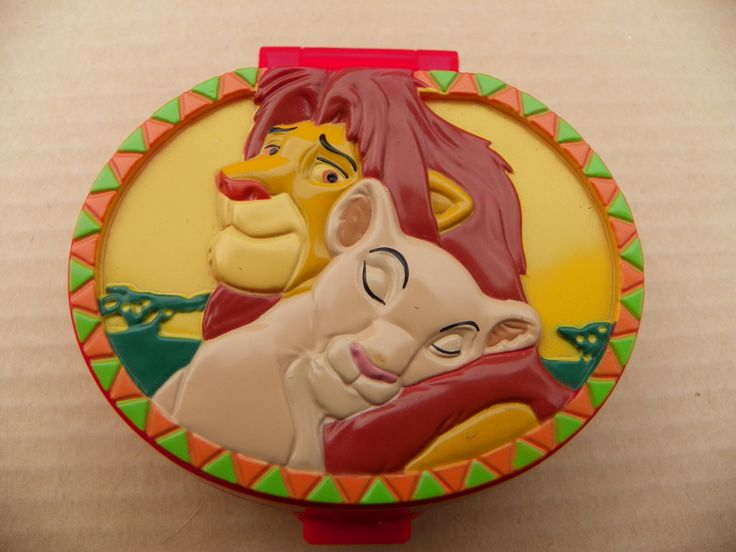 Vintage Disney Polly Pocket COMPLETE - Lion King Playcase - Red Compact with Original New Figures , 1996 Bluebird Toys Polly Pocket Compact by ShersBears on Etsy