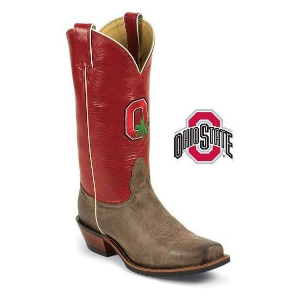 Men's Ohio State Buckeyes Logo Boot ❤ liked on Polyvore featuring men's fashion, men's shoes, men's boots, mens vintage shoes, mens boots, mens shoes, mens tall boots and mens tan boots