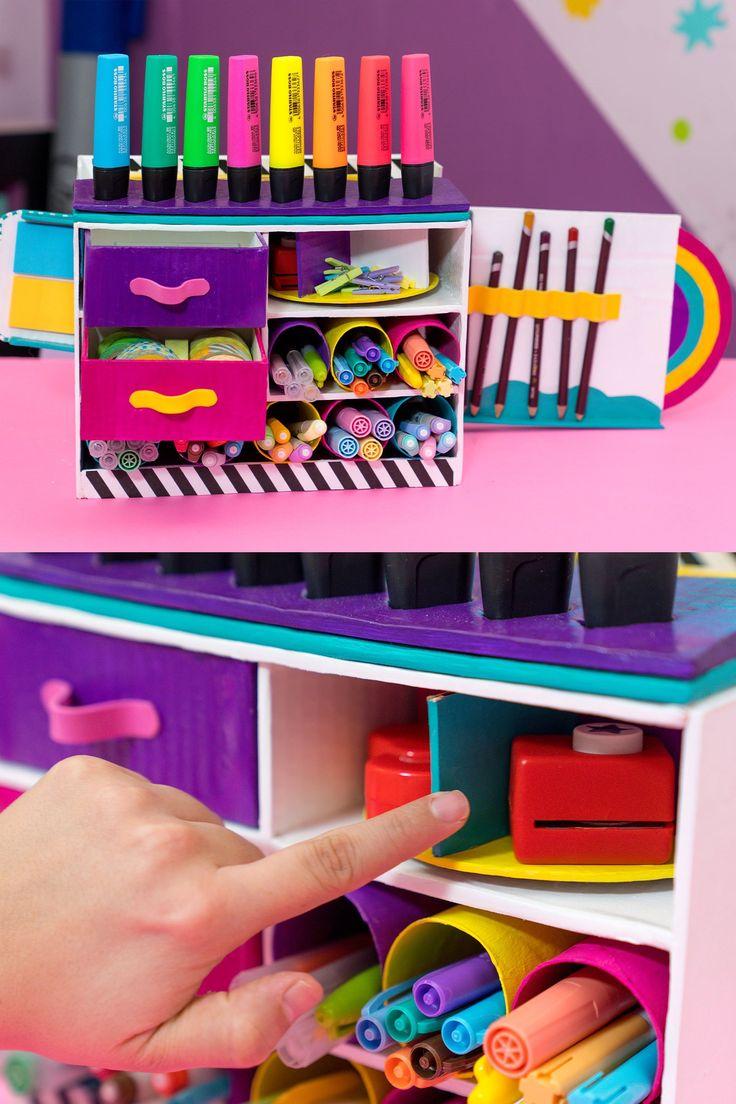 Organizadores de escritorio arcoiris Jute Crafts, Diy And Crafts, Paper Crafts, Diy Canvas Art, Room Organization, Diy For Kids, Decoration, Projects To Try, Crafty