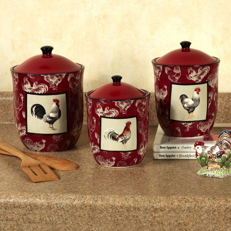 Country rooster kitchen canister set colorful rustic - Kitchen rooster decor ...