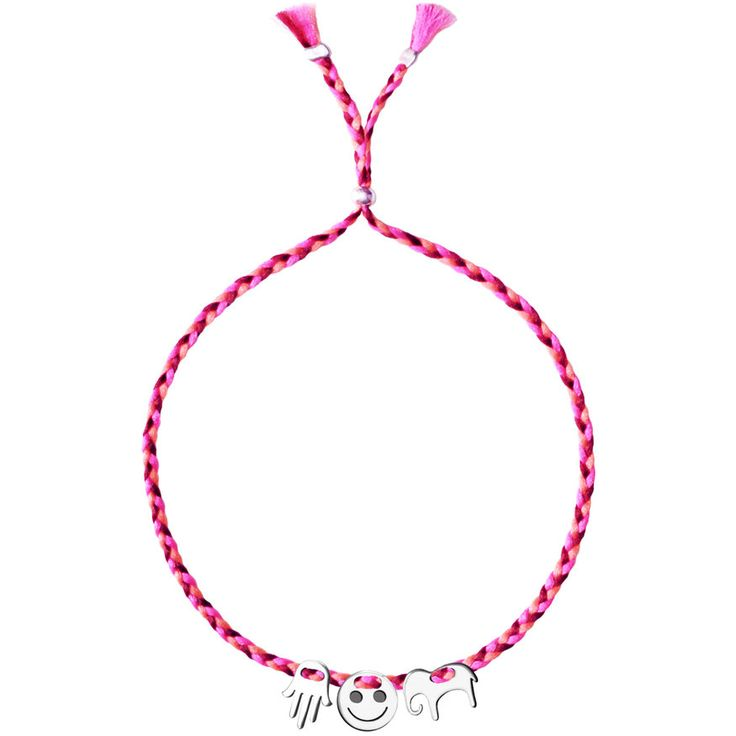 No.121 Three Silver Charms - Fatima Hand, Smiley, Elephant - Sorbet Bracelets