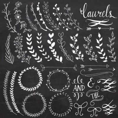 ... Drawn Wreath, Clip Art, Chalkboards