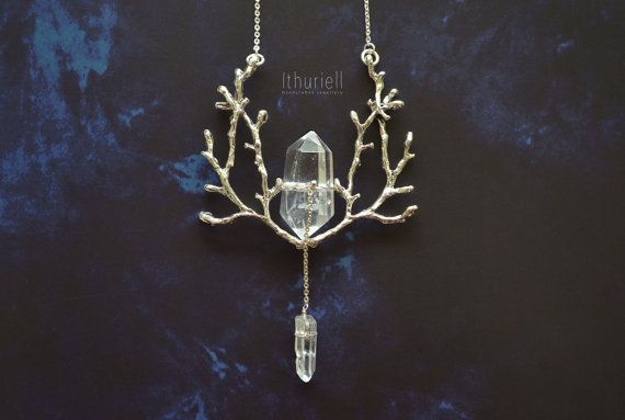Winter tree crystal pendant, elven faerie silver branch, strega amulet, witch pagan gothic druid necklace, forest talisman Samhain Halloween