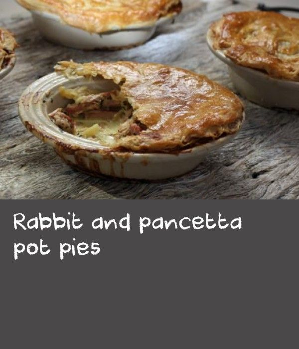 Rabbit and pancetta pot pies |      I kept rabbits as a child and I was so distraught when a fox ate them, I didn't eat rabbit until my thirties! I've found it makes a great pie filling when combined with a little pancetta, to balance its leanness. Make this warming, hearty dish during autumn and winter when you'll really appreciate it and rabbit is at its best.Equipment and preparation: you will need four individual pie dishes.