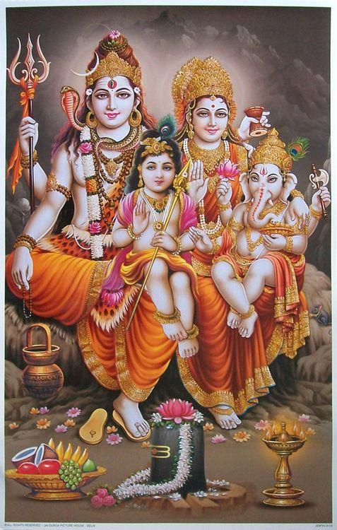Shiva, Parvathi, Ganesha, and Muruga