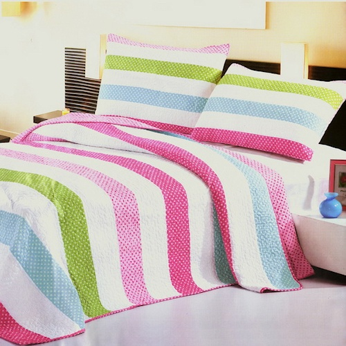 Lime Green And Pink Bedding: Pink Lime Green & Light Blue Striped Bedding Oversized