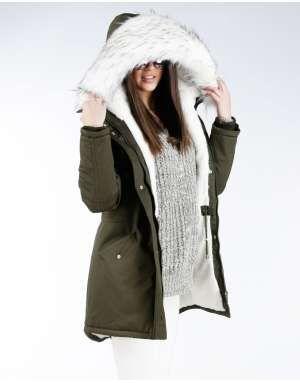 ΓΥΝΑΙΚΕΙΑ ΡΟΥΧΑ :: Μπουφάν & Παλτά :: Παρκά Fluffy Colour Faux Fair Hood White - OEM