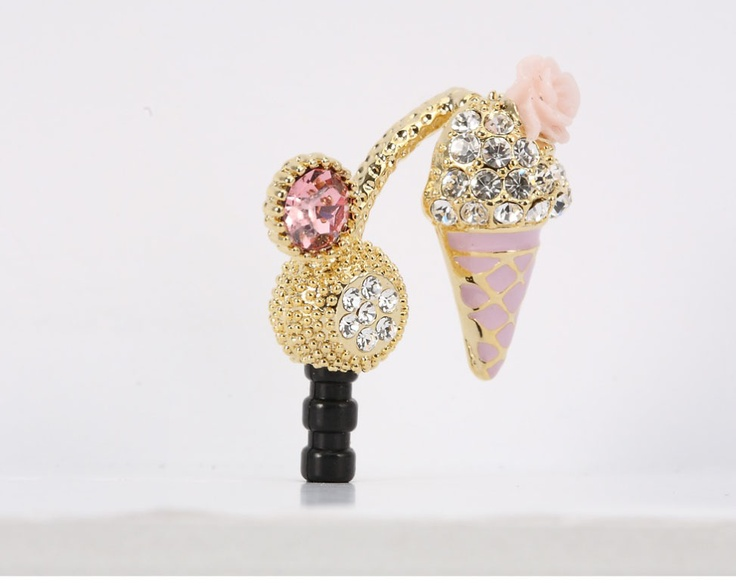 Pink tiny flower Icecream Phone Ear Cap. Price $19.99  / 핑크아이스크림 폰캡