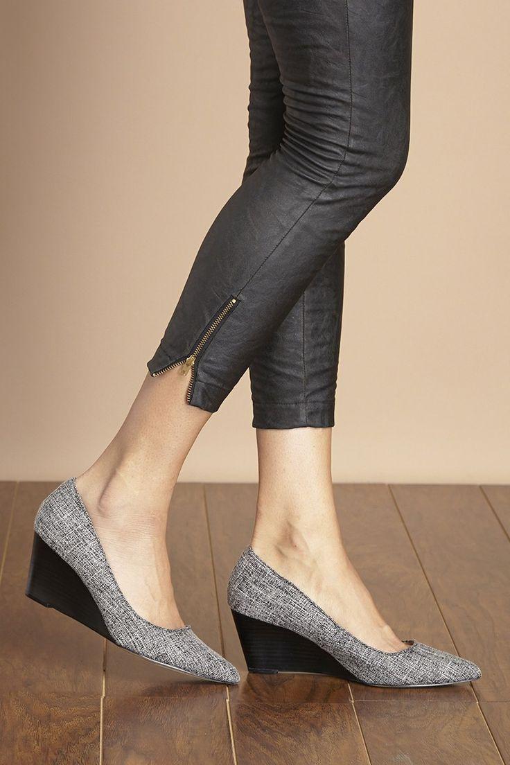 Black & white mid heel wedges