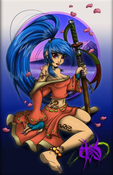 chica ninja con color - Imágenes de Personajes en Diseño Conceptual | Dibujando